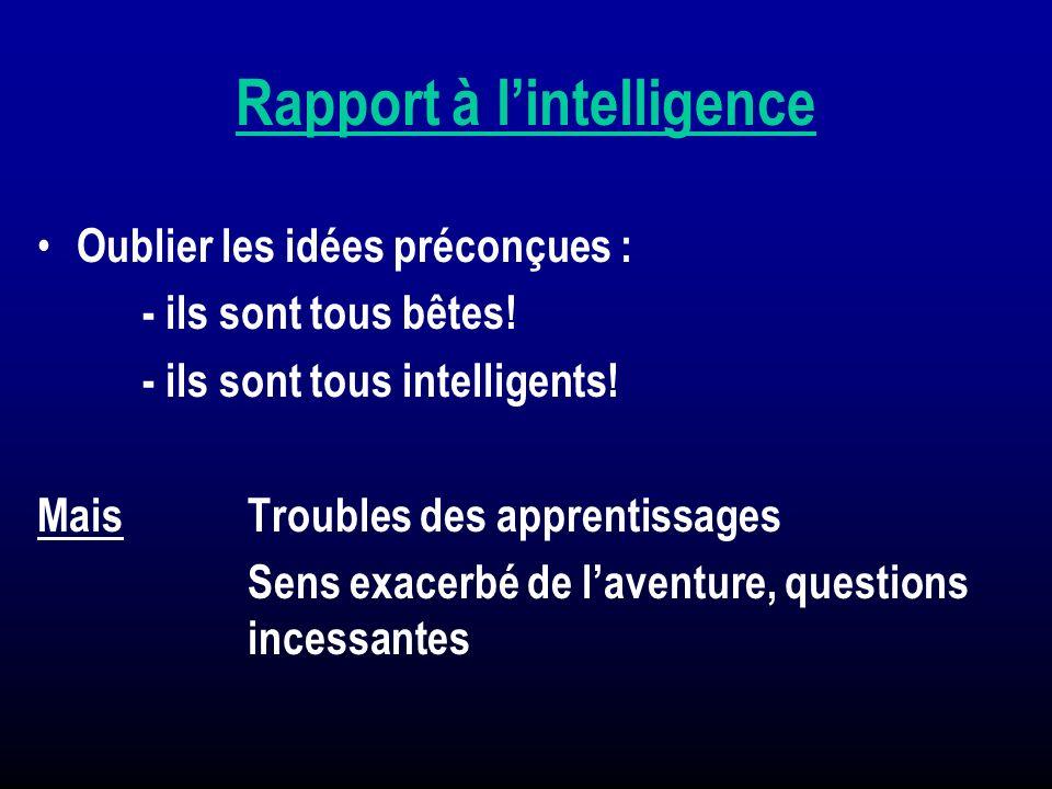Rapport à lintelligence Oublier les idées préconçues : - ils sont tous bêtes! - ils sont tous intelligents! Mais Troubles des apprentissages Sens exac