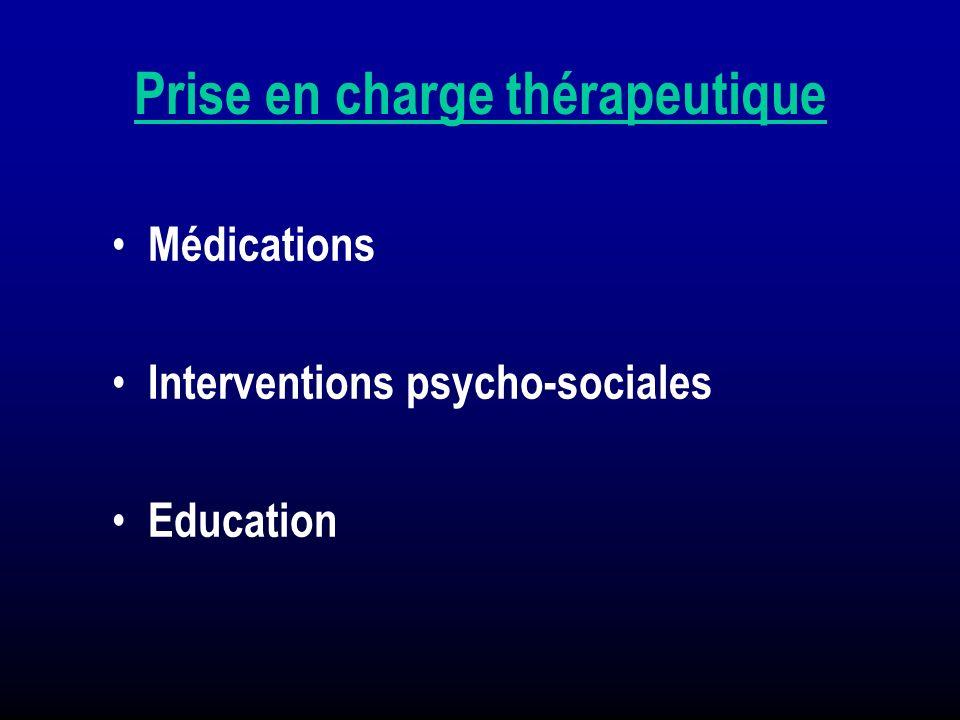 Prise en charge thérapeutique Médications Interventions psycho-sociales Education