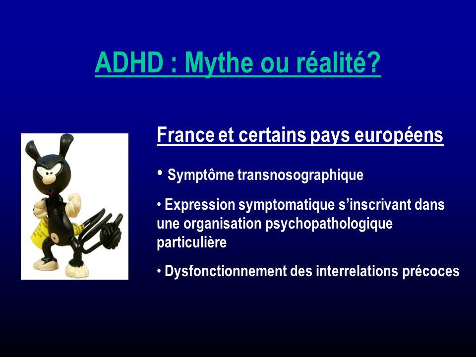 ADHD : Mythe ou réalité? France et certains pays européens Symptôme transnosographique Expression symptomatique sinscrivant dans une organisation psyc