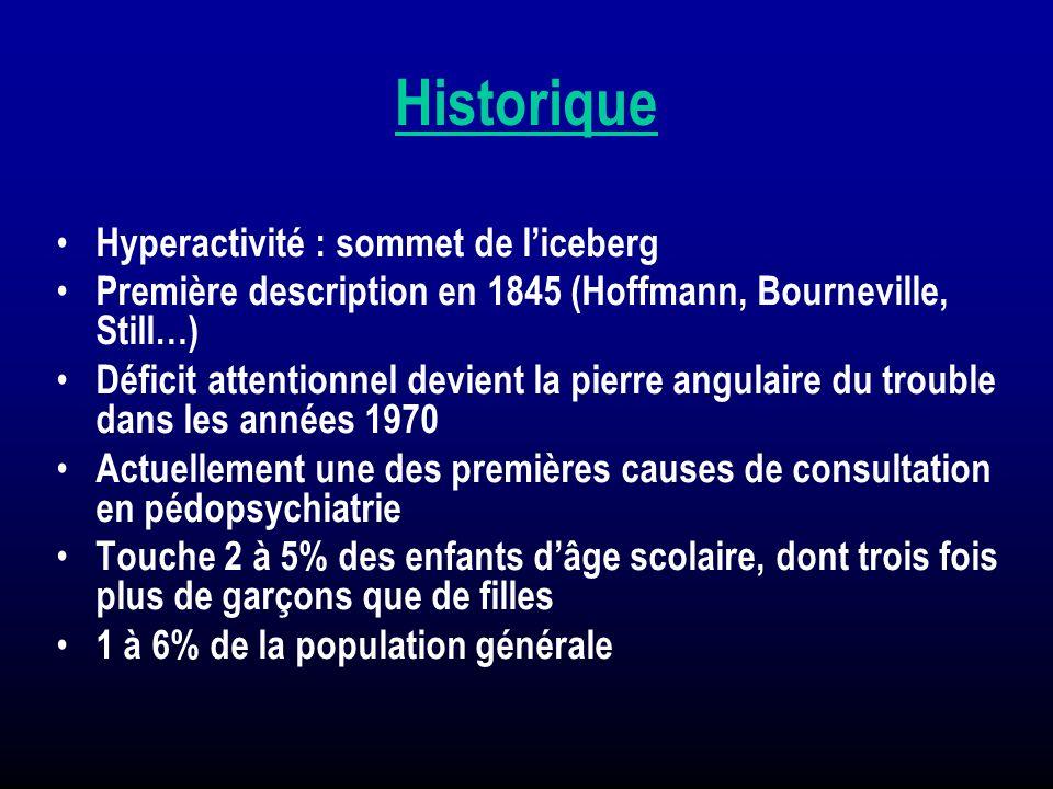 Historique Hyperactivité : sommet de liceberg Première description en 1845 (Hoffmann, Bourneville, Still…) Déficit attentionnel devient la pierre angu