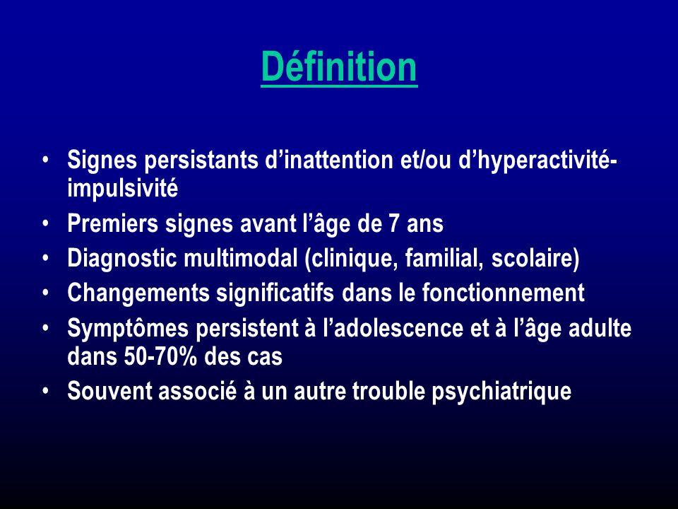 Définition Signes persistants dinattention et/ou dhyperactivité- impulsivité Premiers signes avant lâge de 7 ans Diagnostic multimodal (clinique, fami