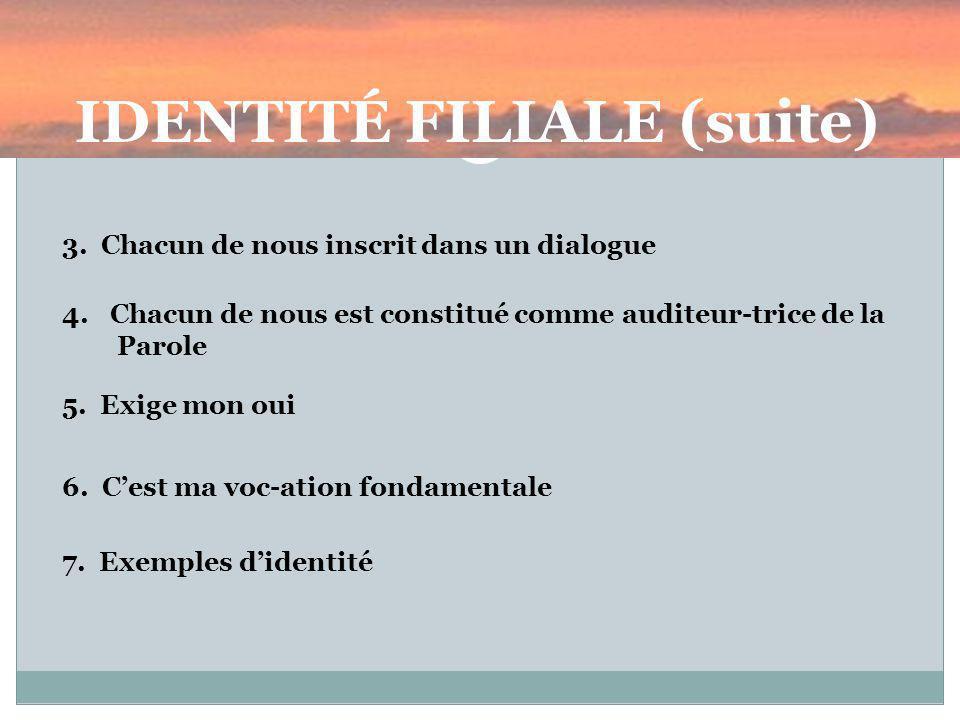 IDENTITÉ FILIALE (suite) 3.