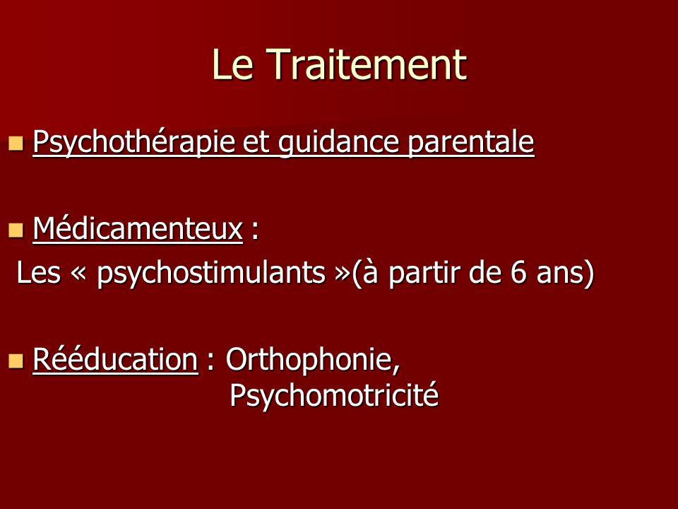 Le Traitement Psychothérapie et guidance parentale Psychothérapie et guidance parentale Médicamenteux : Médicamenteux : Les « psychostimulants »(à par