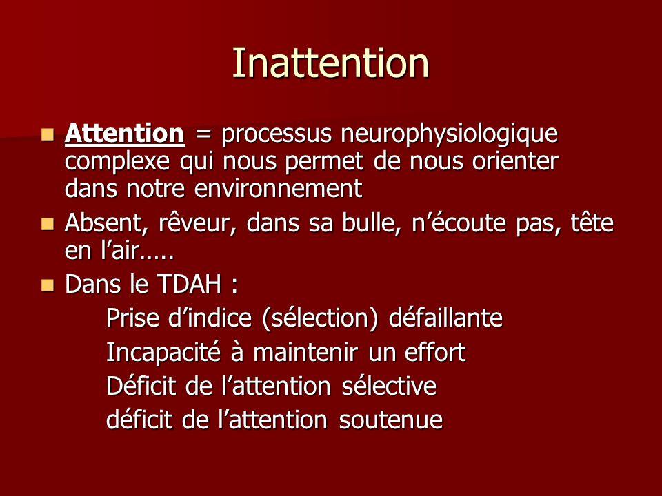 Inattention Attention = processus neurophysiologique complexe qui nous permet de nous orienter dans notre environnement Attention = processus neurophy