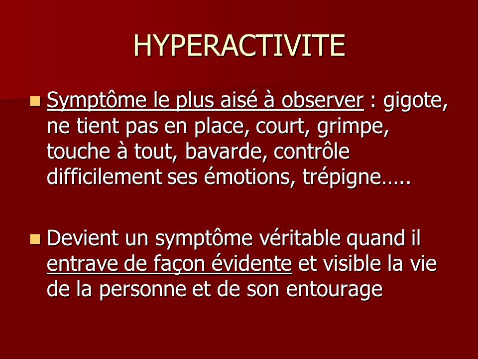 HYPERACTIVITE Symptôme le plus aisé à observer : gigote, ne tient pas en place, court, grimpe, touche à tout, bavarde, contrôle difficilement ses émot