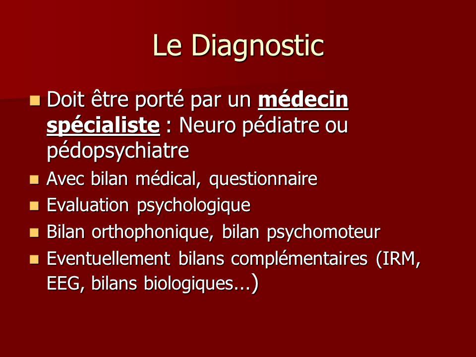Le Diagnostic Doit être porté par un médecin spécialiste : Neuro pédiatre ou pédopsychiatre Doit être porté par un médecin spécialiste : Neuro pédiatr
