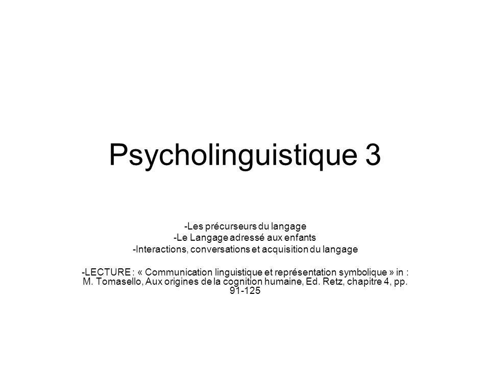 Psycholinguistique 3 -Les précurseurs du langage -Le Langage adressé aux enfants -Interactions, conversations et acquisition du langage -LECTURE : « C