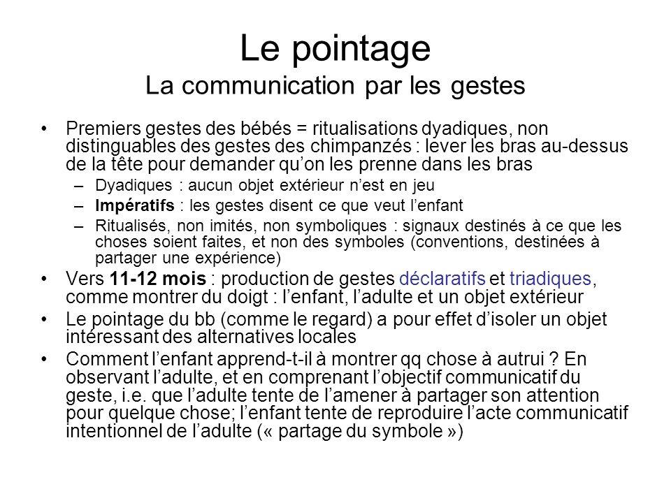 Le pointage La communication par les gestes Premiers gestes des bébés = ritualisations dyadiques, non distinguables des gestes des chimpanzés : lever