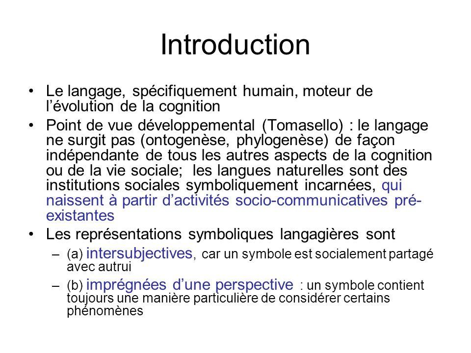 Introduction Le langage, spécifiquement humain, moteur de lévolution de la cognition Point de vue développemental (Tomasello) : le langage ne surgit p