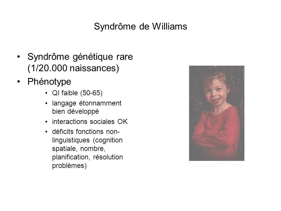 Syndrôme de Williams Syndrôme génétique rare (1/20.000 naissances) Phénotype QI faible (50-65) langage étonnamment bien développé interactions sociale