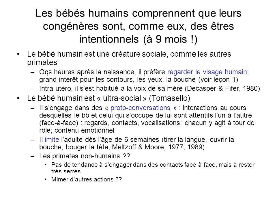 –Dès 12 mois, les bbs comprennent que dautres voient des choses comme ils le font eux-mêmes (« seeing representationally »); à 12 mois, les bbs peuvent déterminer à quel objet (parmi 3 un adulte fait attention, non sur base de la direction du regard, mais sur base de la connaissance du fait que cet objet est nouveau (Tomasello & Haberl, 2003) –NB : les chimpanzés aussi .