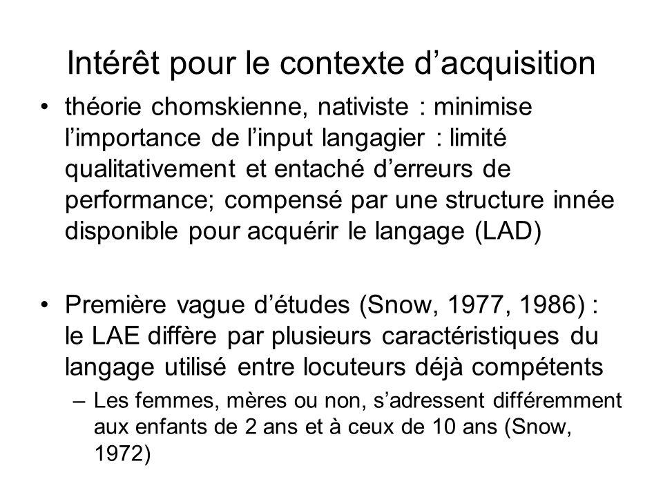 Intérêt pour le contexte dacquisition théorie chomskienne, nativiste : minimise limportance de linput langagier : limité qualitativement et entaché de
