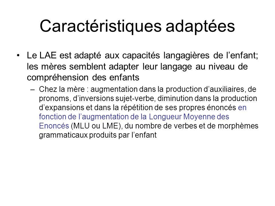 Caractéristiques adaptées Le LAE est adapté aux capacités langagières de lenfant; les mères semblent adapter leur langage au niveau de compréhension d