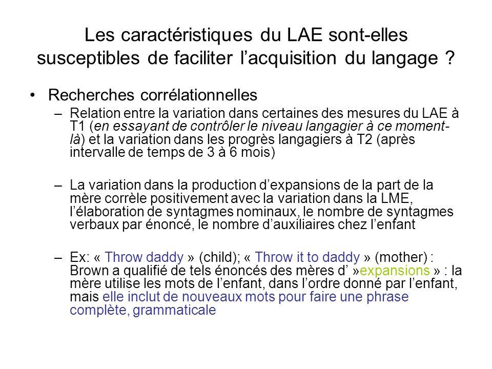 Les caractéristiques du LAE sont-elles susceptibles de faciliter lacquisition du langage ? Recherches corrélationnelles –Relation entre la variation d