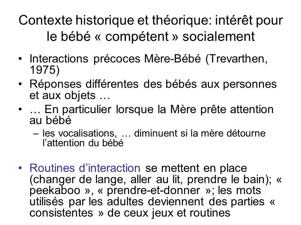 Contexte historique et théorique: intérêt pour le bébé « compétent » socialement Interactions précoces Mère-Bébé (Trevarthen, 1975) Réponses différent