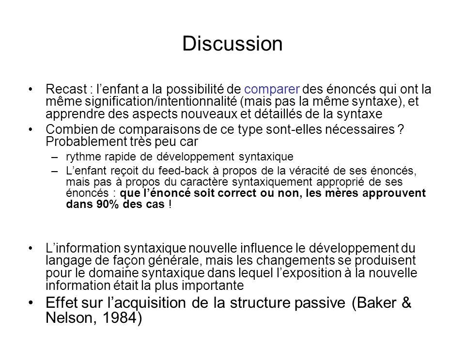 Discussion Recast : lenfant a la possibilité de comparer des énoncés qui ont la même signification/intentionnalité (mais pas la même syntaxe), et appr