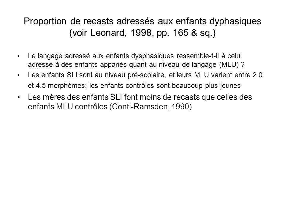 Proportion de recasts adressés aux enfants dyphasiques (voir Leonard, 1998, pp. 165 & sq.) Le langage adressé aux enfants dysphasiques ressemble-t-il
