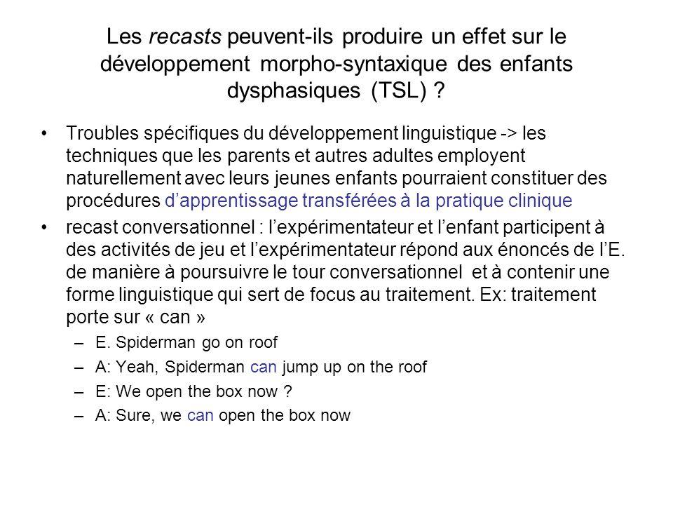 Les recasts peuvent-ils produire un effet sur le développement morpho-syntaxique des enfants dysphasiques (TSL) ? Troubles spécifiques du développemen