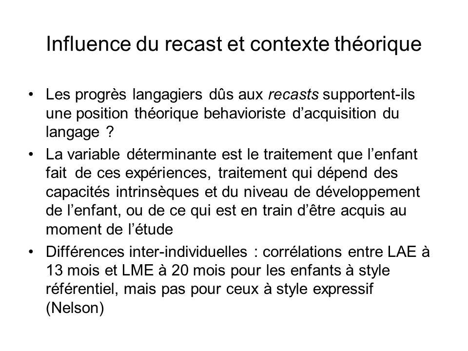 Influence du recast et contexte théorique Les progrès langagiers dûs aux recasts supportent-ils une position théorique behavioriste dacquisition du la