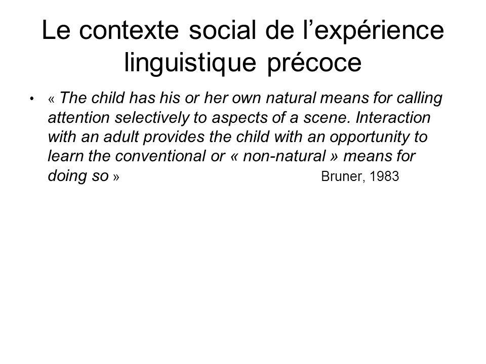 Le LAE rend lobjet « langage » plus accessible à lenfant –Les mères sadressent à lenfant dans un langage clairement articulé –Produit avec un ton de la voix plus élevé –Intonation exagérée –Vocabulaire plus limité –Syntaxiquement plus simple : énoncés de la mère contiennent moins de pronoms 3ème personne, sont plus courts,moins de subordonnées –Le LAE porte davantage sur l »ici » et « maintenant » –Plus de répétitions et reformulations des énoncés que la mère vient de produire, ainsi que répétitions, expansions*, recasts* et de ceux produit par lenfant auparavant