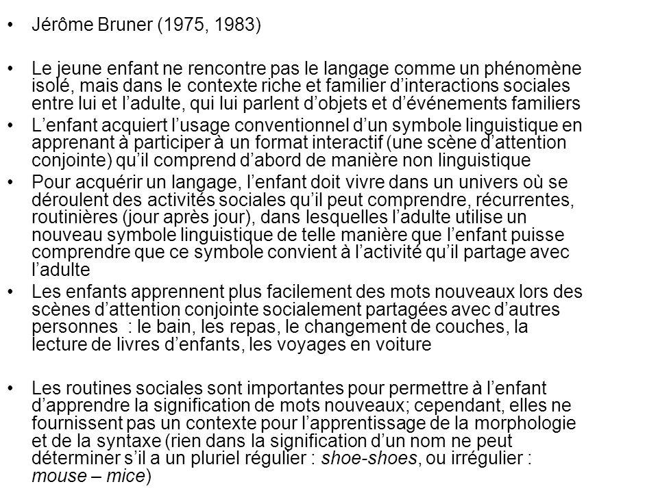 Jérôme Bruner (1975, 1983) Le jeune enfant ne rencontre pas le langage comme un phénomène isolé, mais dans le contexte riche et familier dinteractions