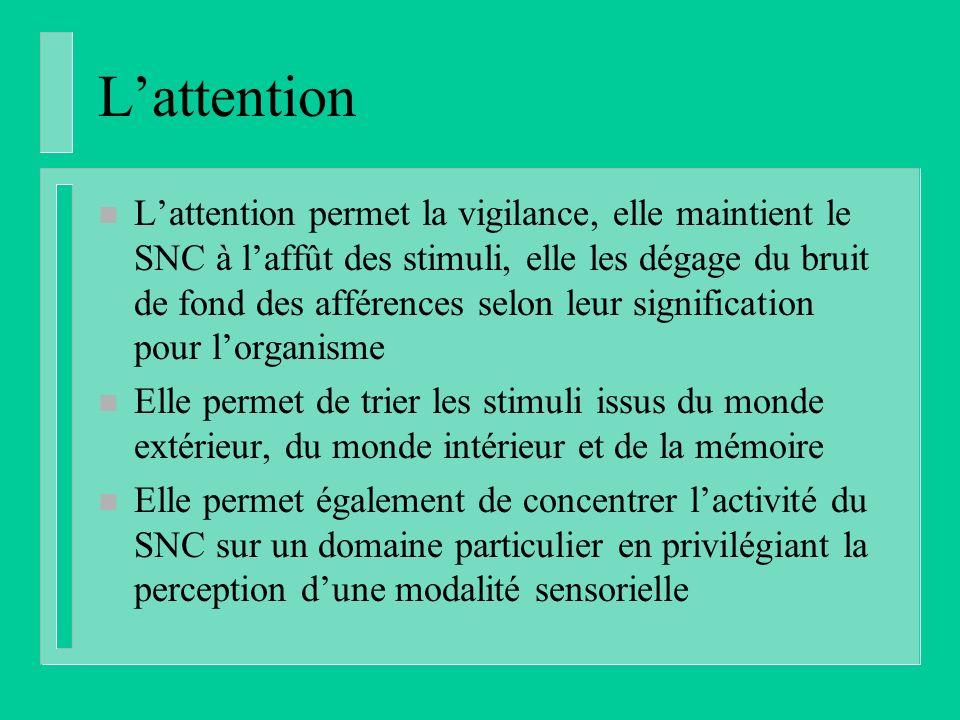 Lattention n Lattention permet la vigilance, elle maintient le SNC à laffût des stimuli, elle les dégage du bruit de fond des afférences selon leur si