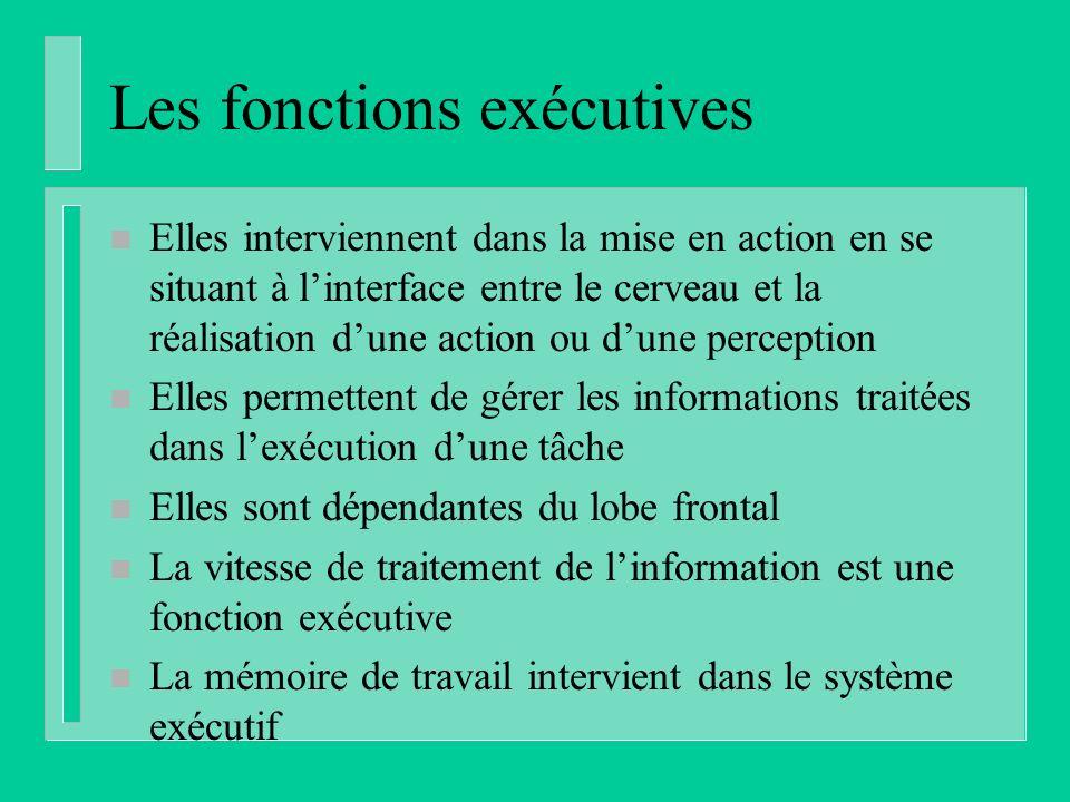 Les fonctions exécutives n Elles interviennent dans la mise en action en se situant à linterface entre le cerveau et la réalisation dune action ou dun