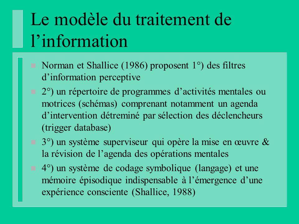 Le modèle du traitement de linformation n Norman et Shallice (1986) proposent 1°) des filtres dinformation perceptive n 2°) un répertoire de programmes dactivités mentales ou motrices (schémas) comprenant notamment un agenda dintervention détreminé par sélection des déclencheurs (trigger database) n 3°) un système superviseur qui opère la mise en œuvre & la révision de lagenda des opérations mentales n 4°) un système de codage symbolique (langage) et une mémoire épisodique indispensable à lémergence dune expérience consciente (Shallice, 1988)