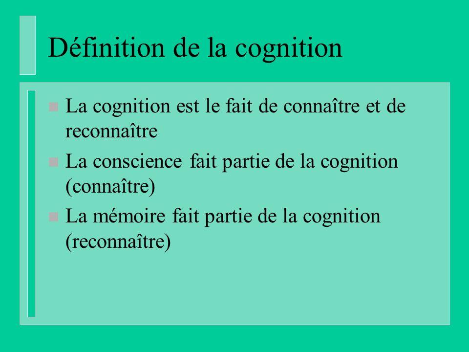 Définition de la cognition n La cognition est le fait de connaître et de reconnaître n La conscience fait partie de la cognition (connaître) n La mémoire fait partie de la cognition (reconnaître)