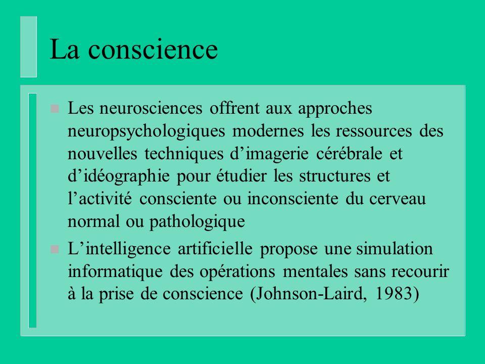La conscience n Les neurosciences offrent aux approches neuropsychologiques modernes les ressources des nouvelles techniques dimagerie cérébrale et di