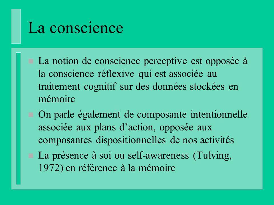 La conscience n La notion de conscience perceptive est opposée à la conscience réflexive qui est associée au traitement cognitif sur des données stockées en mémoire n On parle également de composante intentionnelle associée aux plans daction, opposée aux composantes dispositionnelles de nos activités n La présence à soi ou self-awareness (Tulving, 1972) en référence à la mémoire