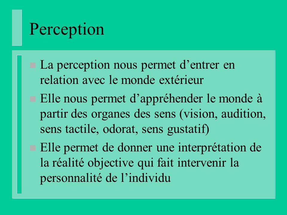 Perception n La perception nous permet dentrer en relation avec le monde extérieur n Elle nous permet dappréhender le monde à partir des organes des sens (vision, audition, sens tactile, odorat, sens gustatif) n Elle permet de donner une interprétation de la réalité objective qui fait intervenir la personnalité de lindividu