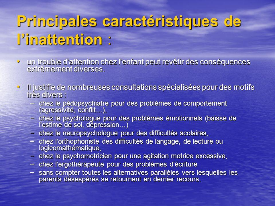 Principales caractéristiques de linattention : un trouble dattention chez lenfant peut revêtir des conséquences extrêmement diverses.