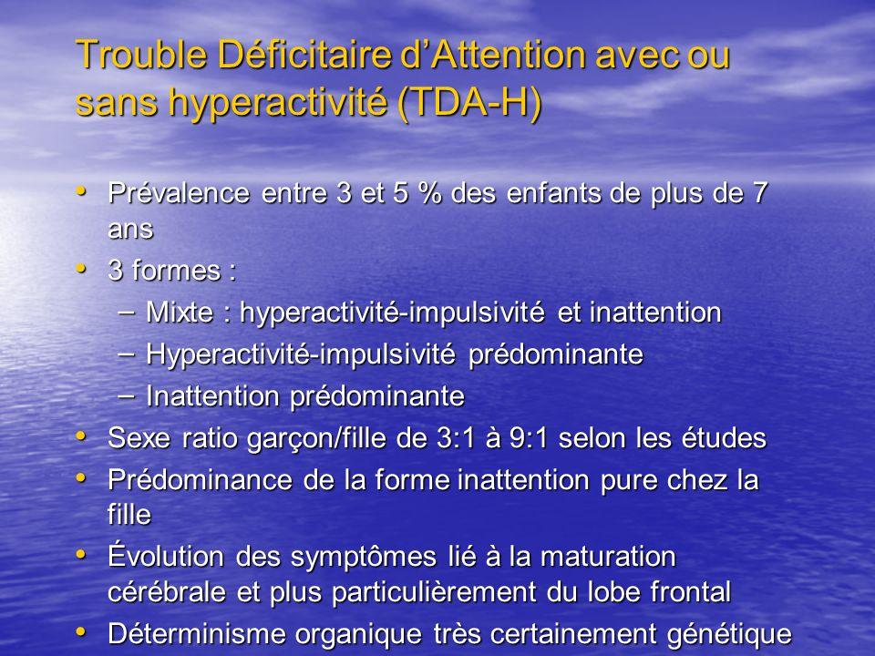 Trouble Déficitaire dAttention avec ou sans hyperactivité (TDA-H) Prévalence entre 3 et 5 % des enfants de plus de 7 ans Prévalence entre 3 et 5 % des enfants de plus de 7 ans 3 formes : 3 formes : – Mixte : hyperactivité-impulsivité et inattention – Hyperactivité-impulsivité prédominante – Inattention prédominante Sexe ratio garçon/fille de 3:1 à 9:1 selon les études Sexe ratio garçon/fille de 3:1 à 9:1 selon les études Prédominance de la forme inattention pure chez la fille Prédominance de la forme inattention pure chez la fille Évolution des symptômes lié à la maturation cérébrale et plus particulièrement du lobe frontal Évolution des symptômes lié à la maturation cérébrale et plus particulièrement du lobe frontal Déterminisme organique très certainement génétique Déterminisme organique très certainement génétique