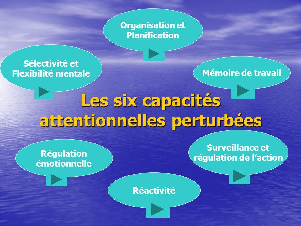 Les six capacités attentionnelles perturbées Organisation et Planification Sélectivité et Flexibilité mentale Régulation émotionnelle Réactivité Surveillance et régulation de laction Mémoire de travail