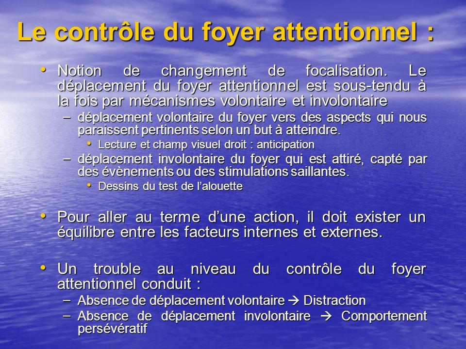 Le contrôle du foyer attentionnel : Notion de changement de focalisation.