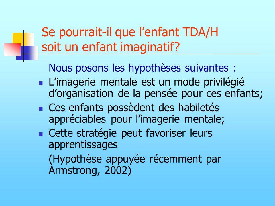 Se pourrait-il que lenfant TDA/H soit un enfant imaginatif? Nous posons les hypothèses suivantes : Limagerie mentale est un mode privilégié dorganisat