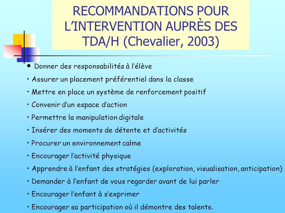 RECOMMANDATIONS POUR LINTERVENTION AUPRÈS DES TDA/H (Chevalier, 2003) Donner des responsabilités à lélève Assurer un placement préférentiel dans la cl