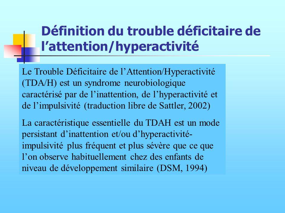 Définition du trouble déficitaire de lattention/hyperactivité Le Trouble Déficitaire de lAttention/Hyperactivité (TDA/H) est un syndrome neurobiologiq