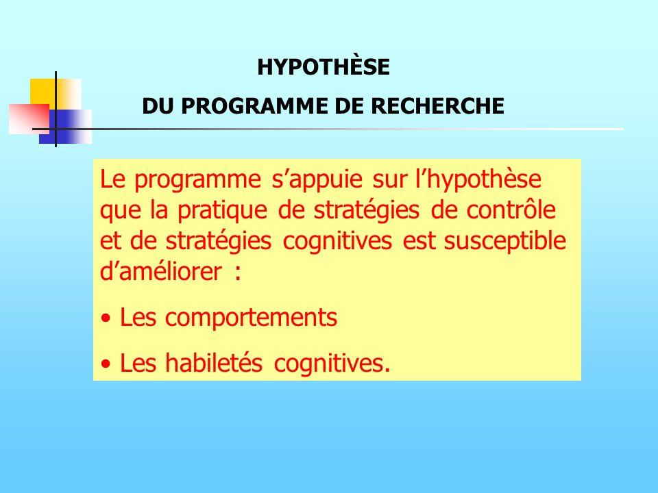 Le programme sappuie sur lhypothèse que la pratique de stratégies de contrôle et de stratégies cognitives est susceptible daméliorer : Les comportemen