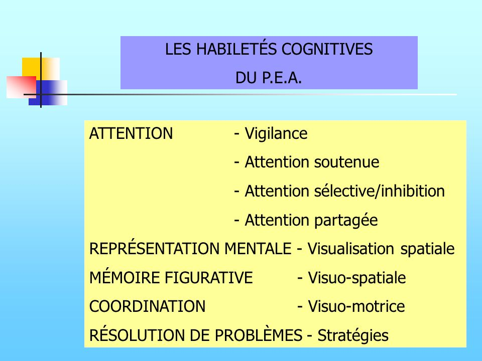 LES HABILETÉS COGNITIVES DU P.E.A. ATTENTION- Vigilance - Attention soutenue - Attention sélective/inhibition - Attention partagée REPRÉSENTATION MENT