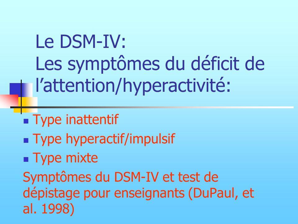 Le DSM-IV: Les symptômes du déficit de lattention/hyperactivité: Type inattentif Type hyperactif/impulsif Type mixte Symptômes du DSM-IV et test de dé