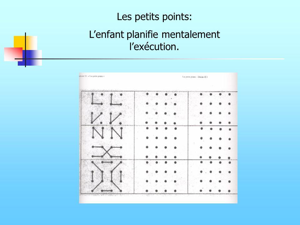 Les petits points: Lenfant planifie mentalement lexécution.