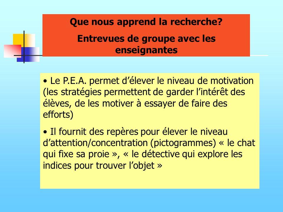 Le P.E.A. permet délever le niveau de motivation (les stratégies permettent de garder lintérêt des élèves, de les motiver à essayer de faire des effor