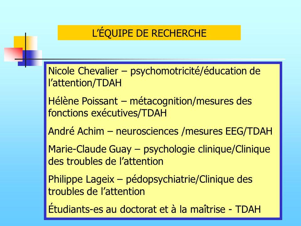 LÉQUIPE DE RECHERCHE Nicole Chevalier – psychomotricité/éducation de lattention/TDAH Hélène Poissant – métacognition/mesures des fonctions exécutives/