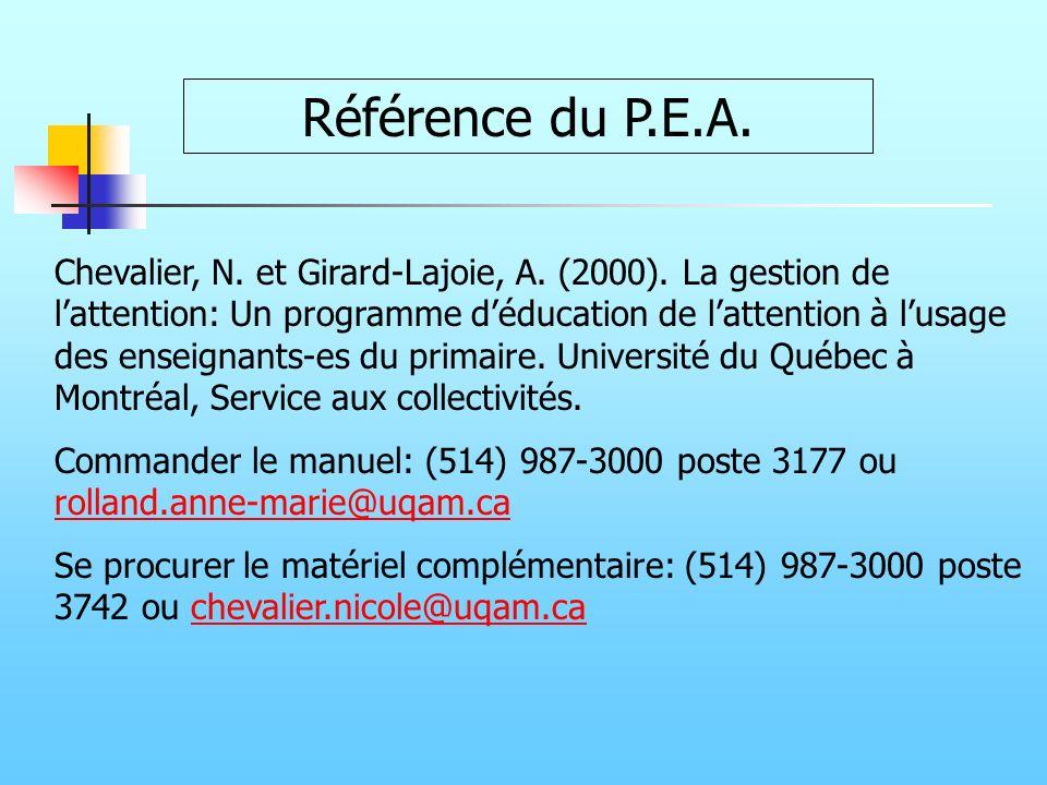 Référence du P.E.A. Chevalier, N. et Girard-Lajoie, A. (2000). La gestion de lattention: Un programme déducation de lattention à lusage des enseignant