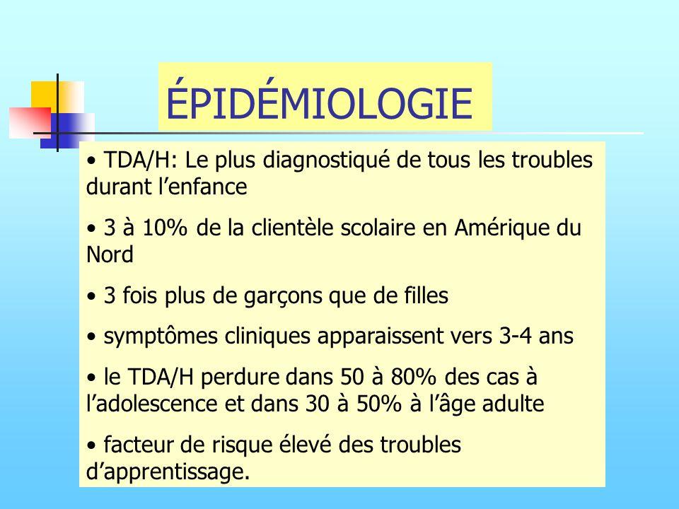 ÉPIDÉMIOLOGIE TDA/H: Le plus diagnostiqué de tous les troubles durant lenfance 3 à 10% de la clientèle scolaire en Amérique du Nord 3 fois plus de gar