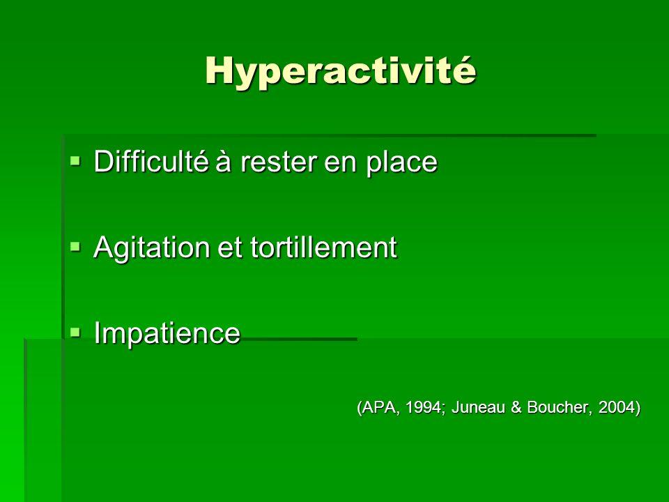 Hyperactivité Difficulté à rester en place Difficulté à rester en place Agitation et tortillement Agitation et tortillement Impatience Impatience (APA