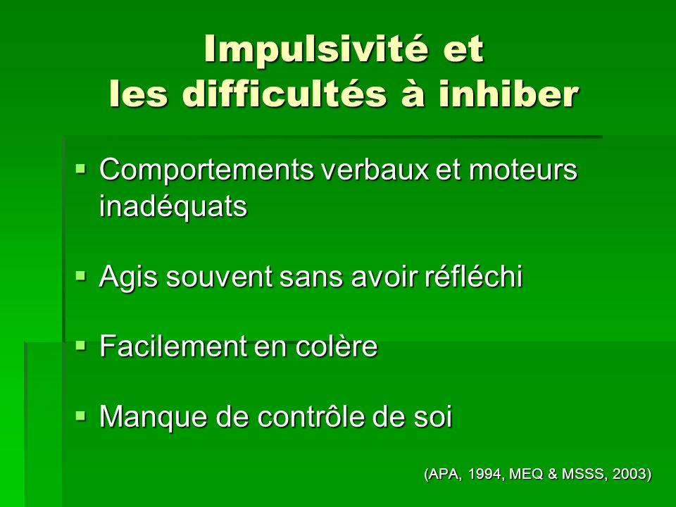 Impulsivité et les difficultés à inhiber Comportements verbaux et moteurs inadéquats Comportements verbaux et moteurs inadéquats Agis souvent sans avo