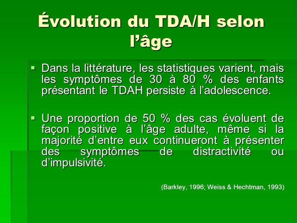 Évolution du TDA/H selon lâge Dans la littérature, les statistiques varient, mais les symptômes de 30 à 80 % des enfants présentant le TDAH persiste à